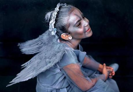 Ella Mari Rodriguez, 6, from Dorchester dressed as the Weeping Angel from Doctor Who.